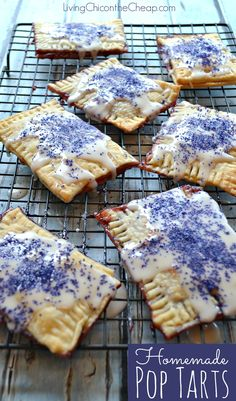 These are so good I probably should never make them again. Here is a simple recipe for homemade Pop Tarts. I made grape, but you could use this recipe to