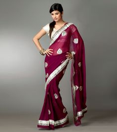 purple maroon bridesmaid saree