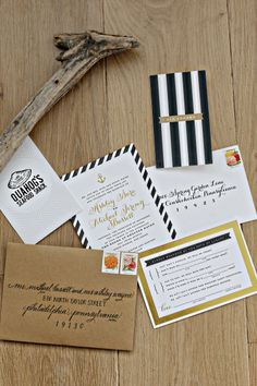 Stripes with a touch of gold: http://www.stylemepretty.com/2015/06/21/romantic-stone-harbor-wedding/ | Photography: Alison Conklin - http://alisonconklin.com/