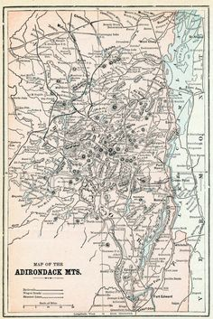 1901 Antique Map of the Adirondack Mountains New