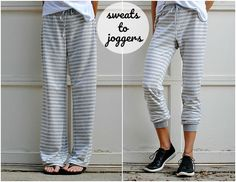 DIY: 5 min Refashioned Jogger PJs - The famous sweats to jogger refashion tutorial by Trash to Couture - Trash To Couture, Jogging, Diy Fashion Tops, Diy Kleidung Upcycling, Diy Fashion Projects, Fashion Ideas, Diy Clothes Refashion, Refashioning Clothes, Refashion Dress