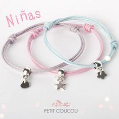 Nuevas pulseras de estrella, corazón y flor para niñas de Petit Coucou www.petitcoucouaccessories.com