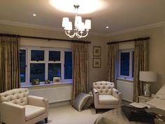 Design Projects, Chandelier, Ceiling Lights, Curtains, Lighting, Bedroom, Home Decor, Candelabra, Blinds
