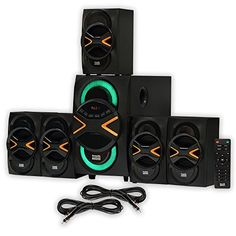 Acoustic Audio AA5210 Home Theater 51 Speaker System with Bluetooth LED Lights FM and 2 Extension Cables * Check out this great product.Note:It is affiliate link to Amazon.