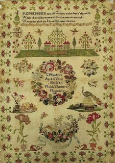 A 19th Century Sampler Stitched By C.Matthews In 1842 ~ Rose Wreath Sampler ~ GiGi R