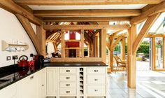 Painted timber kitchen by Neptune in oak frame house designed by Roderick James Architects. Timber Frame Homes, Timber Frames, Shaker Style Kitchens, Shaker Kitchen, Open Plan Kitchen, Kitchen Ideas, Kitchen Designs, Timber Kitchen, Oak Frame House