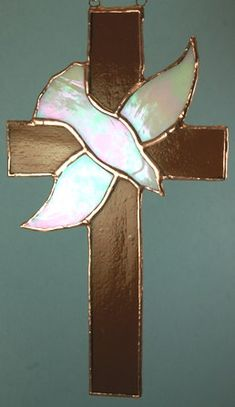 Stained Glass Cross with Dove Suncatcher Cross & Dove Stained Glass Quilt, Stained Glass Birds, Stained Glass Designs, Stained Glass Panels, Stained Glass Projects, Stained Glass Patterns, Leaded Glass, Mosaic Glass, Fused Glass