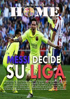 El Barcelona de Luis Enrique gana en el Vicente Calderón gracias a un único gol de Leo Messi y se proclama campeón de liga (23ª)· El argentino, que no marcaba en el Calderón desde 2012, hizo su gol nº 41 en esta liga · El Atlético, pese a la derrota, sigue dependiendo de sí mismo para ser tercero · El Real Madrid ganó al Espanyol (1-4) con tres goles de Cristiano Ronaldo