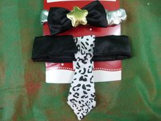 Cat Dress Up Collar Set Bow Tie And Long Tie Black White & Silver Or Tiny Dogs #HolidayTime