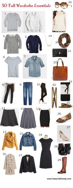 Classy Yet Trendy: Trendy Wednesday Link-Up #37: 30 Fall Wardrobe Essentials