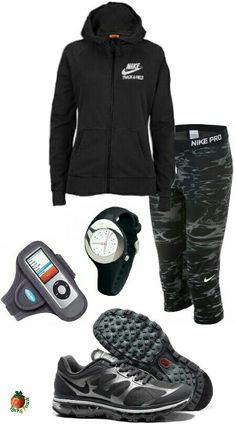 Womens fashion black and gray nike outfit