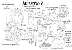 Quali sono le cose che iniziamo a fare in Autunno? E quali vestiti indossiamo?  Ecco un disegno dedicato alla stagione dell'Autunno.