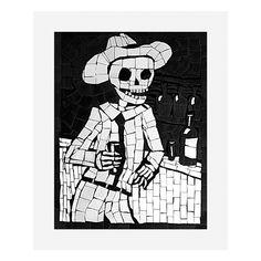 Juan at the Bar - Large High Quality Giclee Print   #sugarskull #dayofthedead #skulls #skeleton #gifts #homeware #homedecor
