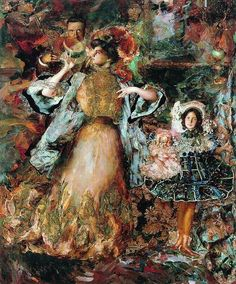 Filipp Malyavin - Autoportrait with wife and daughter, 1911.