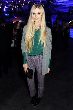 Laura Bailey.. Prada trousers, Emilia Wickstead shirt and Nicholas Kirkwood heels.. contrast in patterns, fabrics and colours - love!