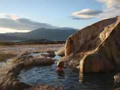 Travertine Springs – Death Valley, California: These hot springs in the heart of Death Valley are easy access, just drive up and jump in. Because the water is hot year round, you can even visit in the winter and take a soak surrounded by a snowy valley (though the road may not be plowed).