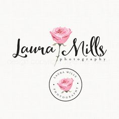 Premade Rose Logo Watercolor Logo Flower by stylemesweetdesign