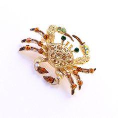 Crab Brooch Crystal Amber Brown Gold.