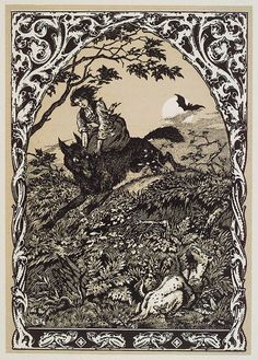 Witch Riding Wolf  by Bernard Zuber  Woodblock print   1926