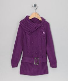 Take a look at this Purple Kayla Belted Sweater Dress - Toddler & Girls by Maria Elena on #zulily today!
