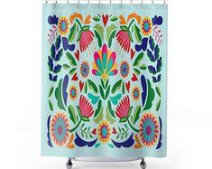 Mexican shower curtain Bathroom art Bohemian Art Bath | Etsy Cactus Shower Curtain, Funny Shower Curtains, Striped Shower Curtains, Bathroom Shower Curtains, Bohemian Art, Pretty Designs, Floral Pillows, Bathroom Art, Bath Decor