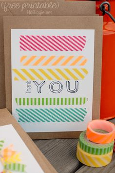 Washi tape thank you card with free printable
