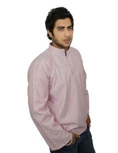 Ethnic Indian Costume Cotton Shirt Red Grey Stripped Short Kurta XL ShalinIndia,http://www.amazon.com/dp/B00IKC93P8/ref=cm_sw_r_pi_dp_vSeHtb1WRE93Q54W