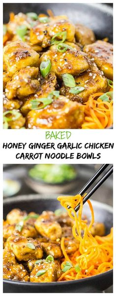 Baked Honey Ginger Garlic Chicken Carrot Noodle Bowls - Healthy Take-out Fake-out!
