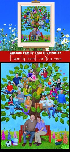 Family Tree art with portraits of everyone in the family generations). Each family member is painted according to his/her hobbies, occupation, etc. The painting was created as a unique gift for grandparents' anniversary. Family Tree For Kids, Family Tree Art, Tree Wall Murals, Tree Wall Art, Parent Gifts, Gifts For Family, Display Family Photos, Personalised Family Tree, Anniversary Gifts For Parents