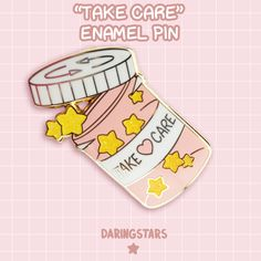 Take Care Pill Bottle Enamel Pin by DaringstarsStudios on Etsy