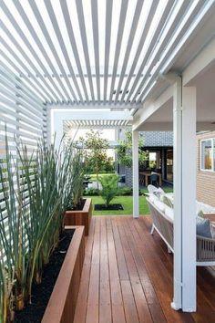 Pergola Patio, Deck With Pergola, Pergola Shade, Building A Pergola, Backyard Patio, Attached Pergola, Patio Roof, Building Plans, White Pergola