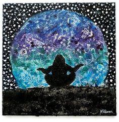 Checiegirl Creations mixed media art by Nathifa Simon - The Rising Moon