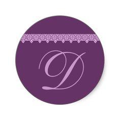 #Wedding #Monogram #PURPLE #Sticker #LaceTrim