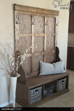 Shanty Hall Tree Bench for the Entryway 2019 Shanty Hall Tree Bench for the Entrywayyou can use an old door and build the bench from pallets! The post Shanty Hall Tree Bench for the Entryway 2019 appeared first on Entryway Diy. Rustic Furniture, Diy Furniture, Painted Furniture, Furniture Plans, Handmade Furniture, Building Furniture, Entryway Furniture, Luxury Furniture, Automotive Furniture