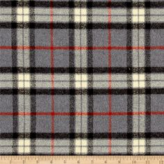Kaufman Mammoth Flannel Large Plaid Grey from @fabricdotcom  Designed for Robert Kaufman Fabrics, this ultra soft double napped (brushed on both sides) lightweight (6 oz per square yard) flannel is perfect for shirts, loungewear and more! Features a yarn dyed plaid of grey, orange, black and cream. Remember to allow extra yardage for pattern matching.