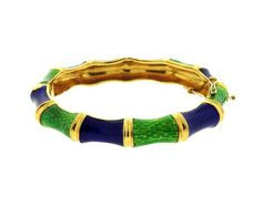 Italian 18k Gold Blue Green Enamel Bangle Bracelet Featured in our upcoming auction on November 3!