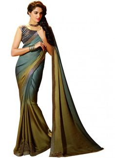 Grey and Brown Crepe Saree