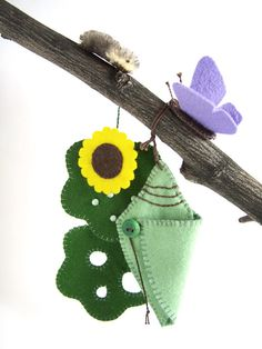 Butterfly Life Cycle Playset from natural materials - Educational, Heirloom Felt Toy. $55.00, via Etsy.