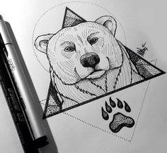 Cool geometric polar bear design