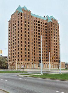 Lee Plaza Hotel, Detroit.  Not a single window left intact.