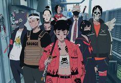 Character Concept, Character Art, Concept Art, Aesthetic Art, Aesthetic Anime, Urban Samurai, Cyberpunk Kunst, Samurai Artwork, Japon Illustration