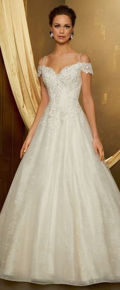 Modest Tulle & Lace Spaghetti Straps Neckline A-line Wedding Dress With Beaded Lace Appliques