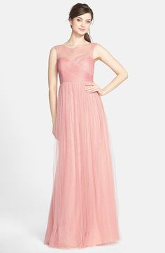 Jenny Yoo 'Aria' Illusion Yoke Pleated Tulle Gown | Nordstrom