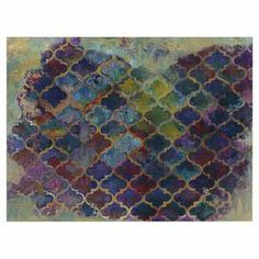 "canvas print, showcasing a multicolor Moroccan-inspired trellis motif.  16"" H x 20"" W x 4"" D"
