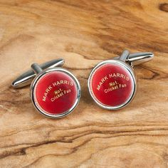 The perfect gift for a cricket fan Highly polished chrome cufflinks with cricket ball design Personalise these cufflinks with a name