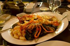 Seafood Platter for Two: Whole lobster, clams, mussels, scallops, calamari and prawns