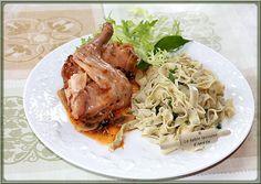 LA TABLE LORRAINE D'AMELIE: Lapin sauce Marengo - Tagliatelles fraîches à l'ail des Ours