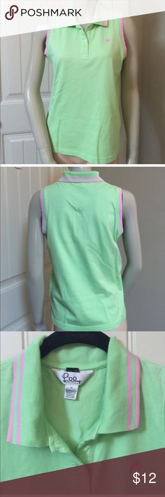"Lilly Pulitzer slim polo shirt top Medium Amazing preppy trendy and very popular brand LILLY PULITZER. Sleeveless polo rugby top. Slim. Size MEDIUM 95% mercerized pima cotton and 5% spandex. Green with pink trim and pink embroidered palm tree on chest. This was expensive! Measures approx 18"" underarm to underarm and approx 23"" length from top of shoulder to the bottom. Thanks for looking. Lilly Pulitzer Tops Blouses"