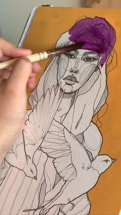 Using Polina Bright brush size 3 Música - Michael Hausted - LovelyGradient. Using Polina Bright brush size 3 Música - Michael Hausted - Lovely By Polina Bright ✔ Fashion Sketchbook Videos Contour Blue snake blindfolded girl Art PrintFashion Art Woman Arte Sketchbook, Fashion Sketchbook, Art Drawings Sketches, Portrait Art, Self Portrait Drawing, Aesthetic Art, Art Tutorials, Painting & Drawing, Figure Drawing