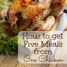 How to Get Five Meals from One Chicken (including slow cooker chicken noodle soup) Recipe To Cook A Whole Chicken, Cooking Whole Chicken, Leftover Chicken Recipes, Roast Chicken Recipes, Leftovers Recipes, Crockpot Recipes, Cooking Recipes, Chicken Leftovers, Chicken Meals
